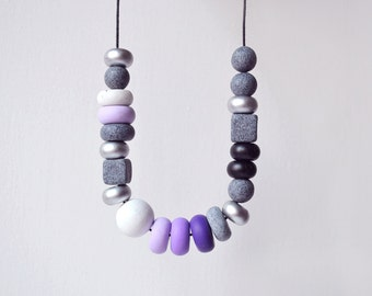 Monochrome Chunky Necklace Polymer clay necklace Beaded necklace purple and gray necklace minimal jewelry Statement necklace geometric gift