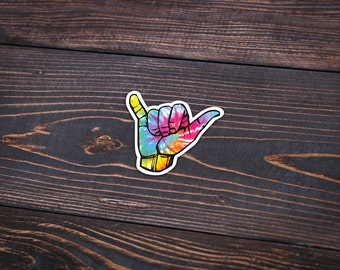 "Hang Loose Tie Dye - Sticker Pack - 4"" Wide - Personalized Sticker - Die Cut"