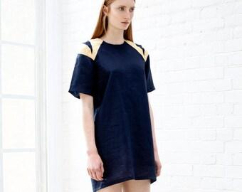 linen shirt dress / linen dress / over sized dress / shift  dress / navy dress / linen tunic