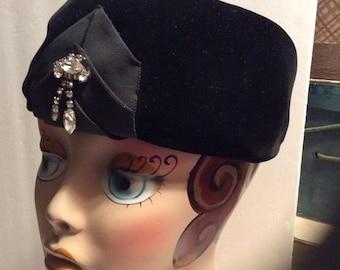50% Off Sale 1960s Vintage Black Velvet and Netting Pillbox Hat with Rhinestones/Henry Harris