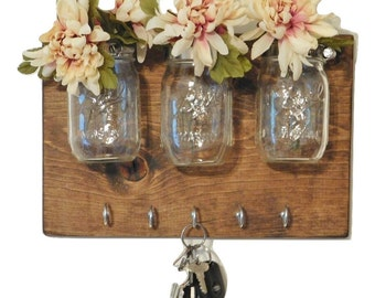 Wall Sconces Flower Vases : Hanging Mason Jar Wall Sconce Flower Vase Candle by TwinOakRustics