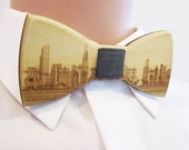Chicago Skyline Natural Stained Wooden Bow-Tie