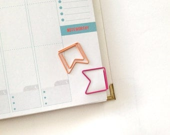 6ct Page Flags Paper Clip Bookmark for your Planner