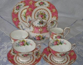 Immaculate ROYAL ALBERT Lady Carlyle Tea For Two Set, Perfect Gift