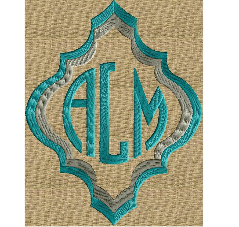 Moroccan quatrefoil font frame monogram embroidery design