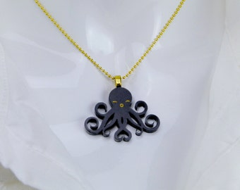 Happy Octopus Necklace (Mini Black)