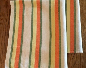 Set of (2) vintage raw linen kitchen striped dish towels