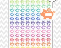 Pastel Piggy Bank Set | Printable Planner Stickers | Perfect for Erin Condren Planners and Happy Planner MAMBI