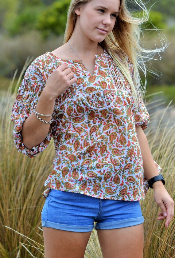 BOHEMIAN PINTUCK BLOUSE in orange Autumn paisley, boho style in cotton gauze handblock