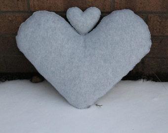 Light Grey Heart Pillow - Krafty Heart Pillows