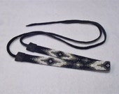 Seed Beaded Native Style Choker, Black, White, Gray, American Indian Inspired Black Leather Necklace, Seed Bead Choker Necklace, Native Type