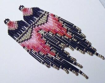 Black Pink Earrings, Shades of Pink, Native American Inspired Seed Beaded Earrings, Silver Seed Beads, Black Bugle Beads