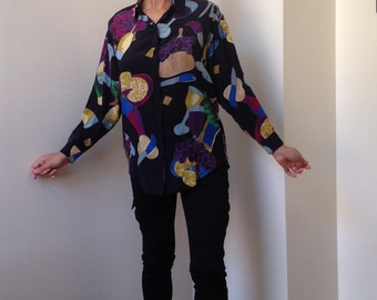 80s Silkscapes Handpainted Silk Blouse - Wine/Cheese/Grapes Print
