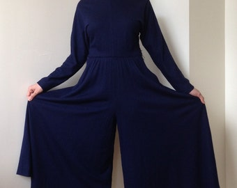 Navy Blue Gillian Wide Leg Palazzo Wool Turlteneck Jumpsuit
