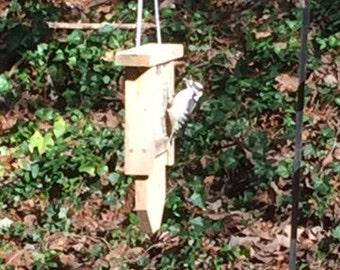 Cedar Single Suet Feeder, Woodpecker Feeder,Tail Prop