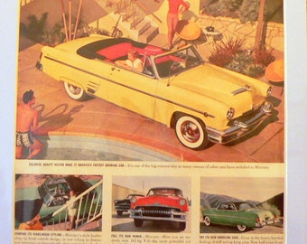 1954 Mercury Convertible Car Ad Matted Vintage Print