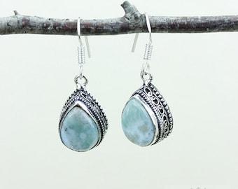 Tear Drop Ocean Blue Caribbean LARIMAR Vintage Filigree Setting 925 SOLID (Nickel Free) Sterling Silver Dangle Earrings E535