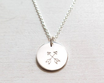 Crossed Arrows Necklace, Sterling Silver, Friendship Necklace, Best Friends Gift, BFF, Friendship Jewelry, Hand Stamped, Dainty Jewelry,