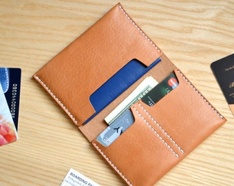 Traveler Passport Wallet in Natural Tan veg tanned Horween Essex leather / Passport cover and card holder