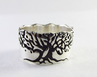 mens engagement tree ring, tree engagement ring, ring Tree of life, mens engagement band, Tree ring,  Family tree ring, silver Tree Ring