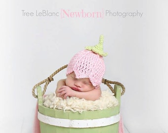 Newborn Pink Tulip Hat - Newborn Props - Spring Baby Hat - Baby Girl Tulip Hat - Newborn Flower Hat - Photography Props for Newborns