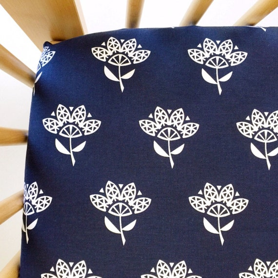 Crib Sheet >> Bluebird Cornflower in Indigo >> MADE-to-ORDER navy baby bedding, floral toddler sheet set, bassinet sheet, mini crib sheet