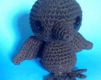 Crochet Amigurumi Raven or Crow, Stuffed Animal, Toy, Plush