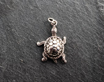 Small Turtle Pendant / Charm -  Sterling Silver
