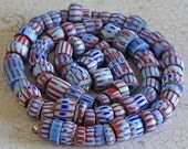 Awale Chevron African Trade Beads | Red Blue Small Venetian Chevron Beads - Full Strand Awale Chevron Beads - Venetian Awale Chevron Beads