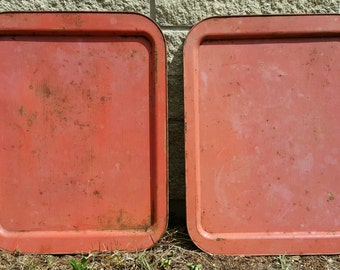 """Large Set of Two 20"""" Rustic Tin Trays in Farmhouse Orange, Pair For Re-purpose/Art/Paintings, Blackboards or Signs For Kitchen or Restaurant"""