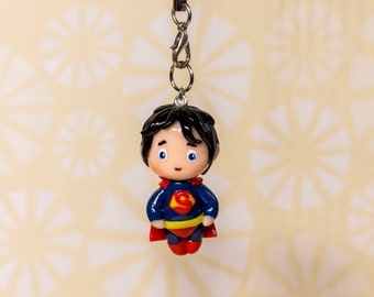 Super Man chibi polymer clay charm