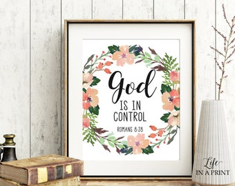 Printable Bible Verse Art, Scripture Typography, God is in control, Psalm 8:28, KJV, Typography art, Bible verse art, GC1