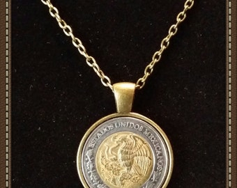"Handcrafted Mexican 2 Peso Coin Pendant Necklace with 23"" Chain & Lobster Clasp"
