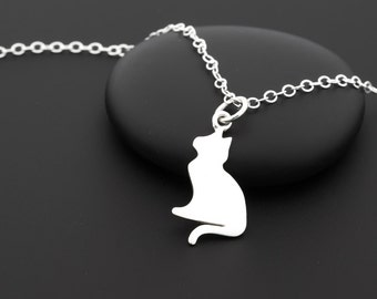 Cat Charm Necklace, Sterling Silver Cat Necklace, Cat Necklace Silver, Kitty Necklace, Cat Jewelry, Cat Lover Jewelry, Gift for Pet Lover