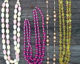 Vintage Beaded Necklaces, Lot of 4, Plastic Beaded Necklaces