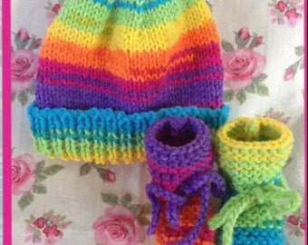 Rainbow, Knitted, Baby Hat and Booties, Baby Set for a Newborn +