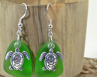 Turtle Seaglass Earrings Beach Earrings Bohemian Earrings 925 Sterling Silver Sea Glass Jewelry