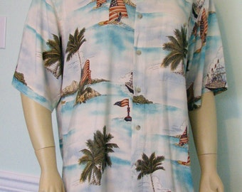 Vintage 4th July Pierre Cardin Patriotic Flags Hawaiian Shirt Fathers Day