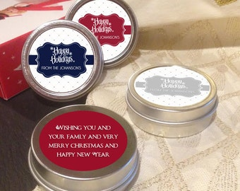 12 Personalized Happy Holidays Mint Tins Favors - Holiday Mints - Christmas Mints - Christmas Favors - Holiday Party Favors - Mint Favors