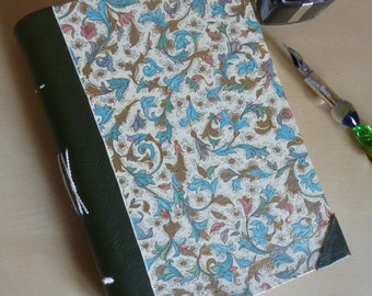 Hand bound bullet journal, notebook, travel journal or sketchbook, floral botanical with green leatherette spine, A6 blank book