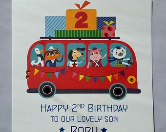 Personalised Handmade Childrens Birthday Card - Any Age