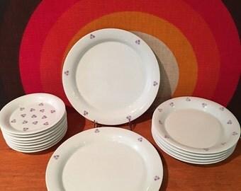 Rare Dansk Designs Austria, Lavender / Grey Tri-Dots Plates, 15 Pc. Set - Two Dinner Plates, Eight Bread Plates, Five Salad Plates