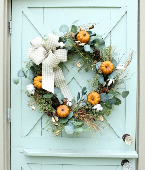 Fall Wreath ~ Pumpkin Wreath ~ Cotton Wreath ~ Fall Door Wreath ~ Eucalyptus Wreath