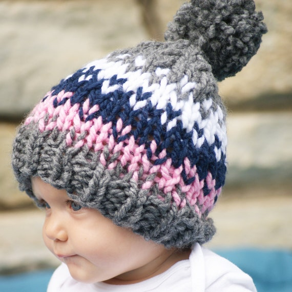 Baby Girl Knit Hat Newborn Fair Isle Hat Pom Pom Hat for