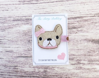 French Bulldog Hair Clip- Feltie Hair Clip, The Bitty Bulldog, Baby Hair Clip, Girls Hair Clip, Clippie