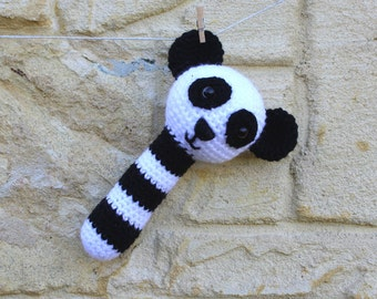 Rattle, handmade, crocheted toy panda bear rattle for babies in black and white