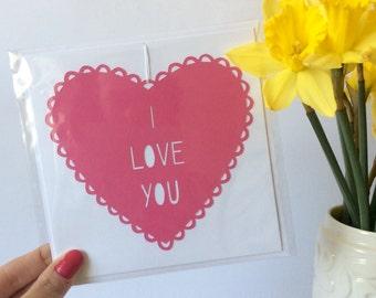 I Love You Papercut Card