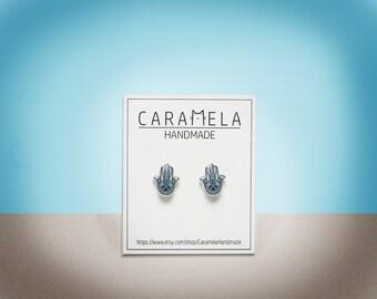 Hamsa Earrings Hamsa hand Stud Earrings Hamsa jewelry Gift for her