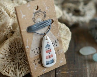 Lighthouse - ceramic necklace - porcelain pendant with nautical print of watercolor illustration