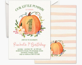 Our Little Pumpkin Invitation - Girl First Birthday Invitation Pink And Gold Fall Birthday Invite Boho Floral Printable Invitation Halloween